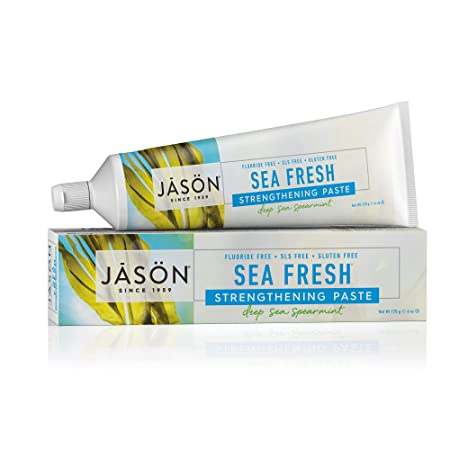 Jason Sea Fresh Strengthening Fluoride Free Toothpaste, Deep Sea Spearmint, 6 Ounce Tube by Jason
