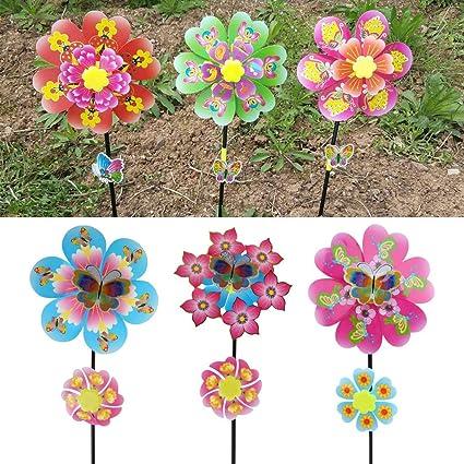 ECMQS 10 ST/ÜCK Sonnenblume Windm/ühle Kid Spielzeug Garten Dekoration Ornament Bunte Freien Wind Spinner