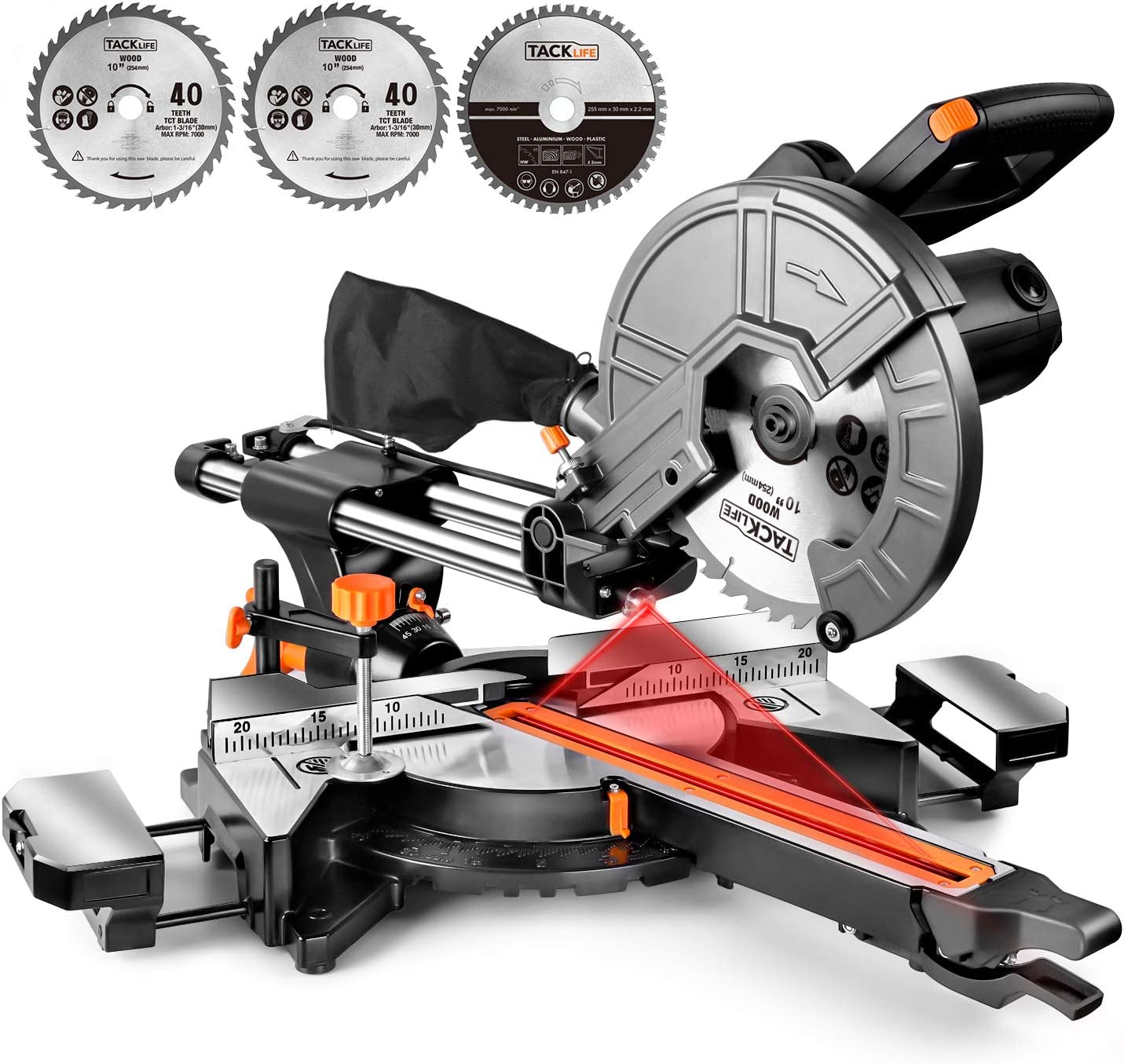 Miter Saw, TACKLIFE Advanced 15 Amp Sliding Compound Miter Saw, Double Speed 4500 RPM 3200 RPM , Bevel Cut 0 -45 with Laser, Extension Table, Chip Bag, Iron Blade Guard, 3 Blades – EMS01A