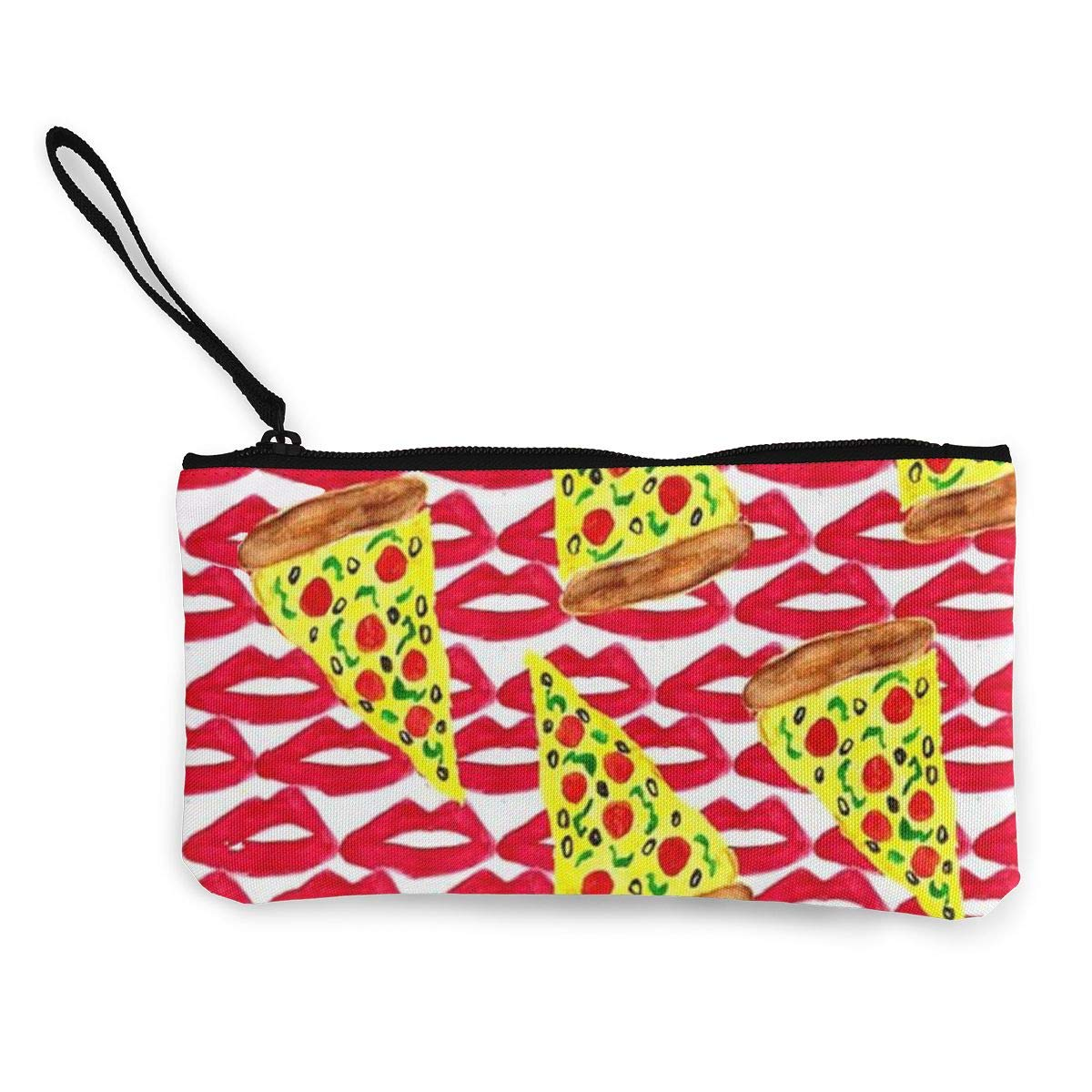 DH14hjsdDEE Lips Pizza Zipper Canvas Coin Purse Wallet Cellphone Bag With Handle Make Up Bag