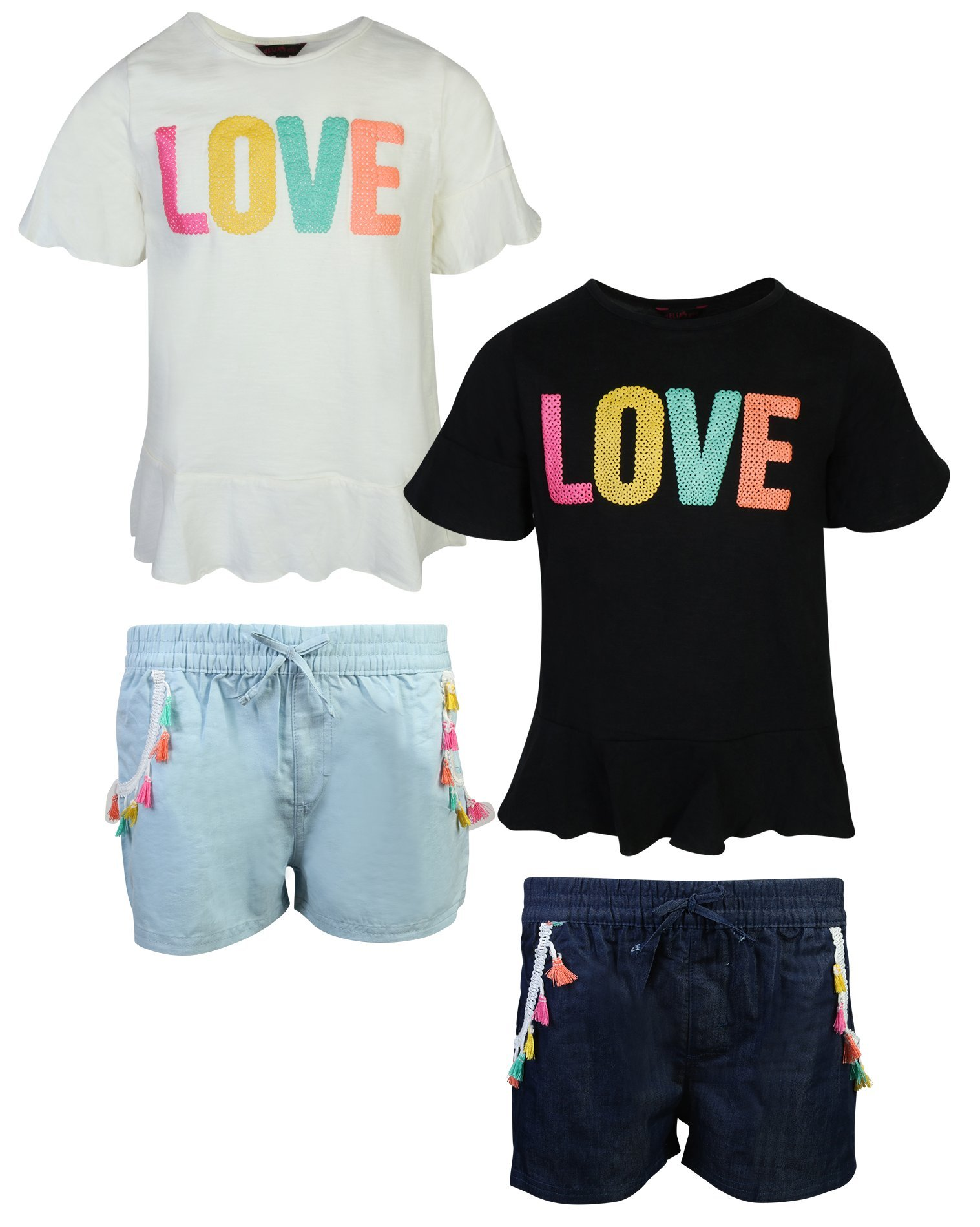 dELiA*s Girl's 4-Piece Woven Top and Chambray Short Set, Love, Size 3T'