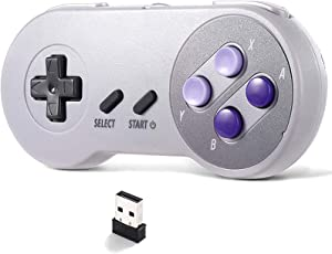 suily Wireless USB Controller for SNES NES Emulator, 2.4GHz USB Gamepad Classic Game Controller Joypad for Windows Laptop PC Mac Raspberry PI System (1 Pack)