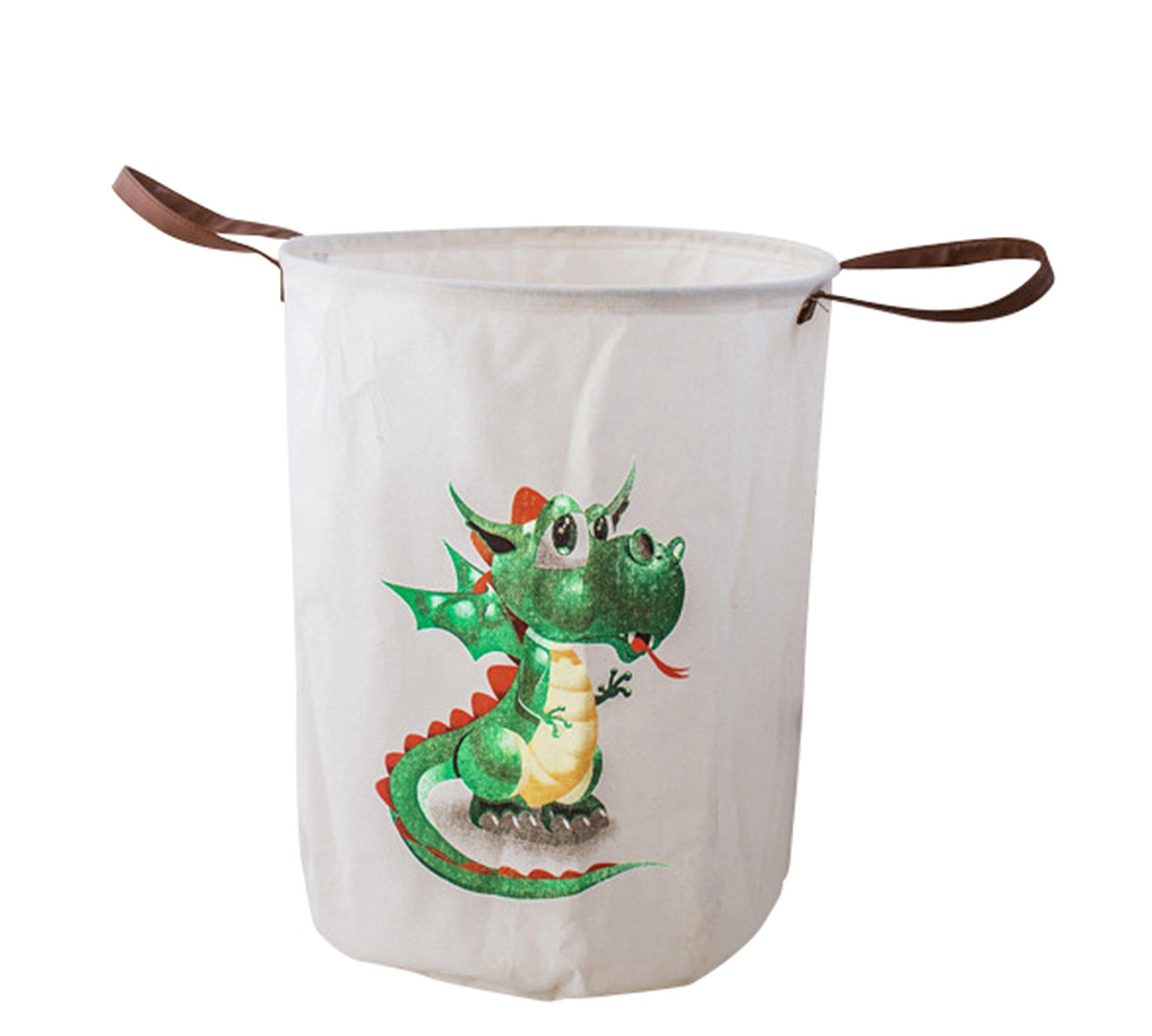 LEELI Laundry Hamper with Handles-Collapsible Canvas Basket for Storage Bin,Kids Room,Home Organizer,Nursery Storage,Baby Hamper,19.7×15.7(Green Dragon)
