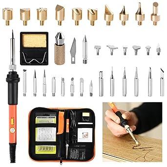 Kit de quemador de madera Kit de soldador | Incluye temperatura ajustable Pluma de soldador Talla