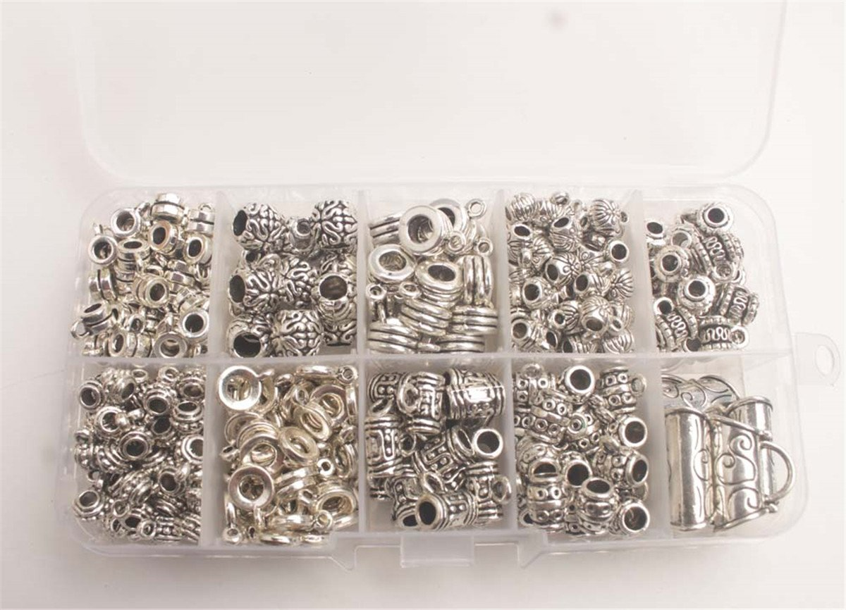 CJ95869-CordEnd-245PCS ChangJin One BOX of Antiqued Silver Metal Clasp Bead Caps Cord End W//Container