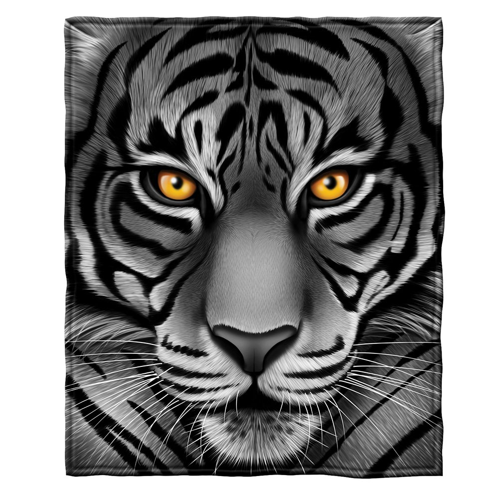 Details about White Tiger Face Fleece Throw Blanket
