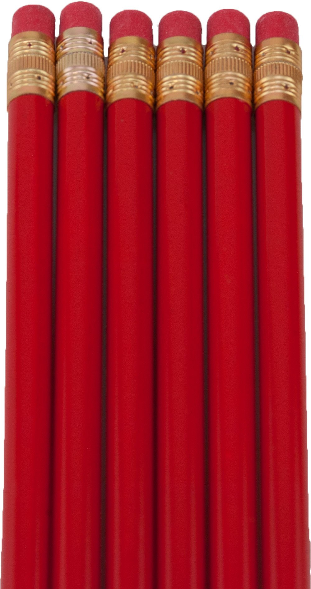 Round Pencils (Full Size Round Pencil with #2 Lead Available in a Variety of Colors) (Tested Non Toxic) (Latex Free Eraser) (Bulk Box of 144) (Classroom Pencils) (Red) by Alpen Glow Products (Image #2)