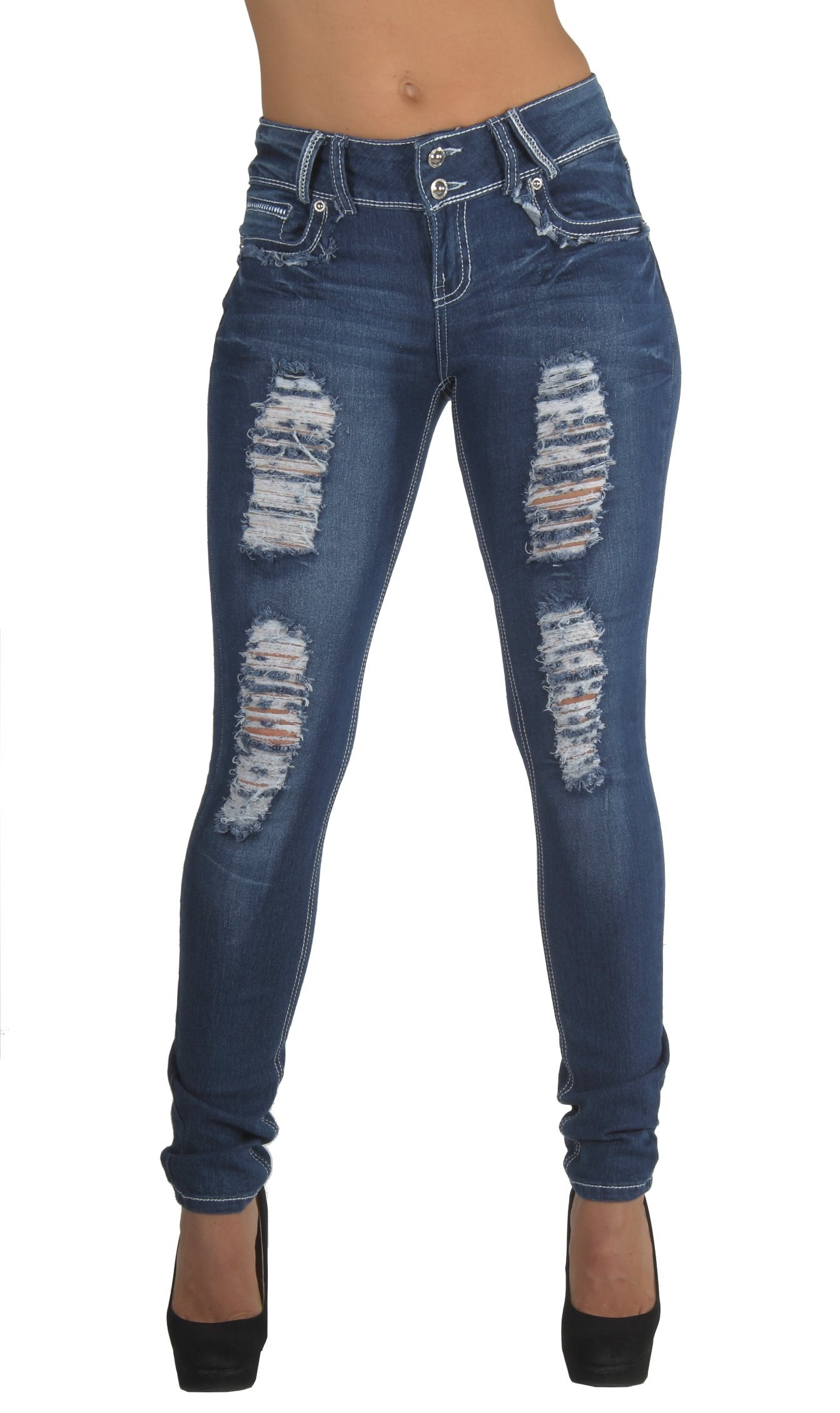 Style N596R-SK– Classic Design, Ripped Distressed, Destroyed Skinny Jeans in Washed Blue Size 7