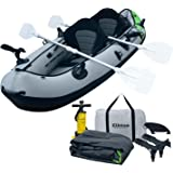 Elkton Outdoors Comorant 2 Person Tandem Inflatable Fishing Kayak, 10-Foot with EVA Padded Seats, Includes 2 Active Fishing Rod Holder Mounts, 2 Aluminmum Paddles, Double Action Pump and More