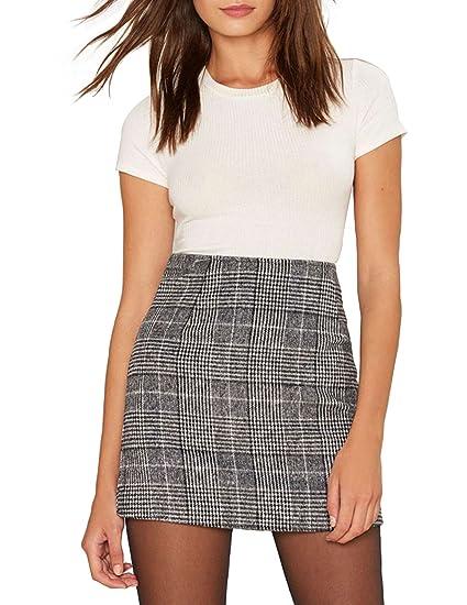 f6b60bf626dfc ASMAX HaoDuoYi Womens Plaid Pencil High Waist Mini Party Skirt
