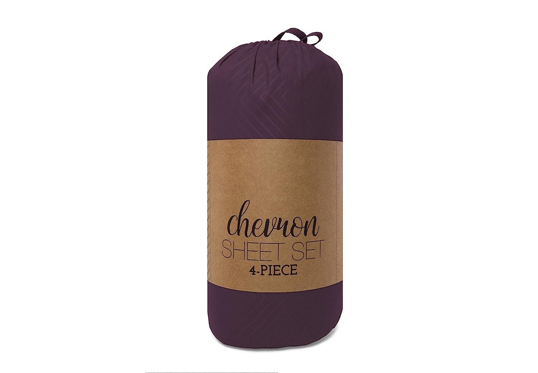 TWIN ienjoy Home Hotel Collection Embossed Chevron 4 Piece Sheet Set PURPLE BLL-CHEV-TWIN-PURPLE