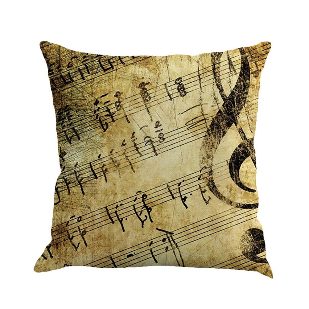 SUNONE11 Vintage Pillowcase Retro Music Note Quotes Throw Pillow Case Cushion Cover for Sofa Decorative Protector 17 x 17 inch Christmas Gift