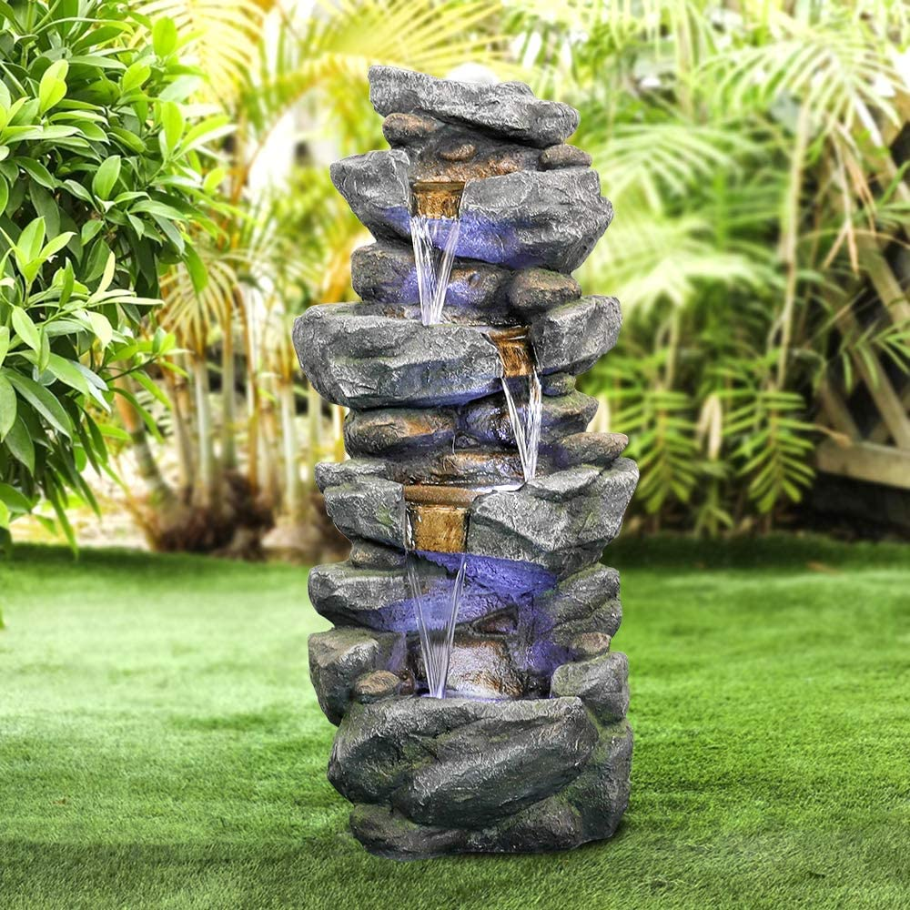 valentinyii Outdoor Water Fountain with LED Lights - 40 Inches High 4-Tier Stacked Simulated Rock Water Fountain - Soothing and Relaxation Waterfall Fountain for Garden Patio Fold Court Yard Deck