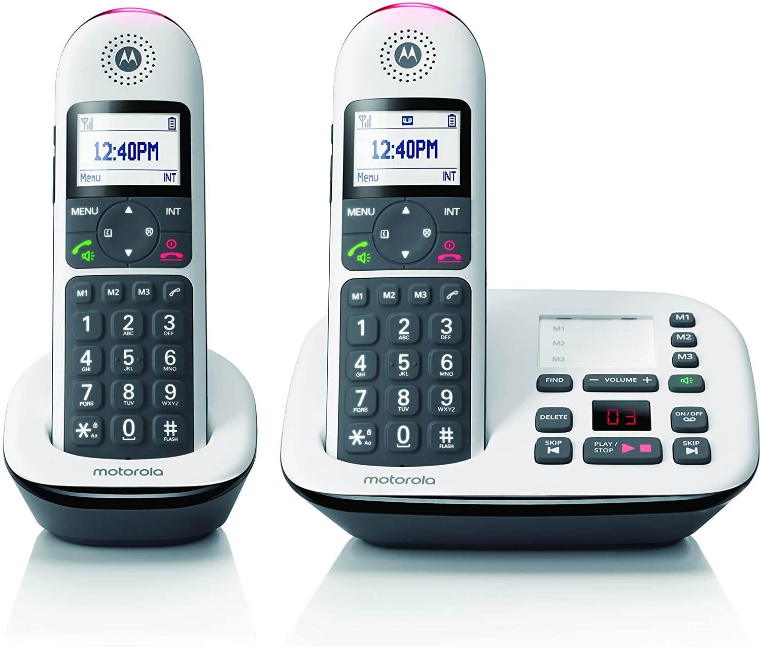 Motorola CD5012 DECT 6.0 Cordless Phone with Answering Machine, Call Block and Volume Boost, White, 2 Handsets