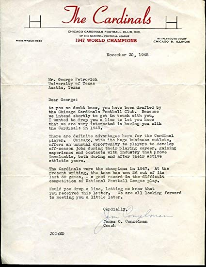 Jim Conzelman Autographed Signed Tls Autographed Signed Chicago