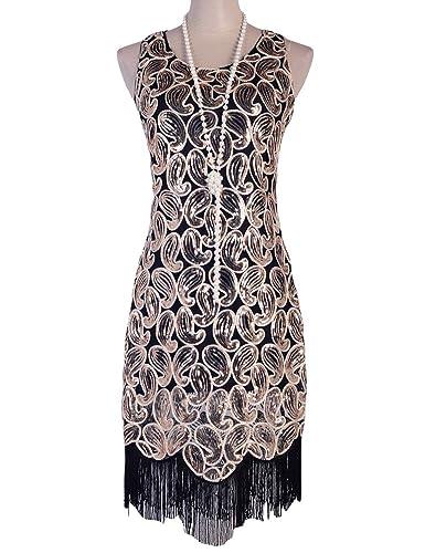 PrettyGuide Women's 1920s Sequin Paisley Racer Back Tassels Flapper Cocktail Dress