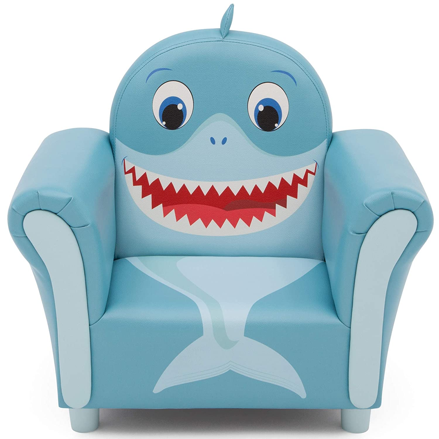 Delta Children Cozy Children's Chair - Fun Animal Character, Blue Shark