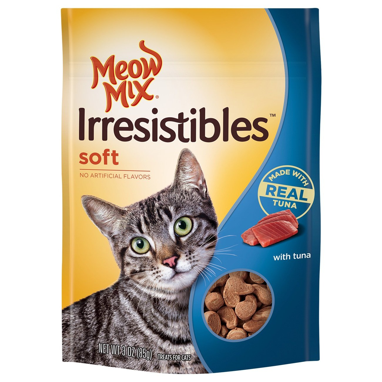 3 Ounce (Pack of 5) Meow Mix Irresistibles Soft Cat Treats with Real Tuna, 3 Oz (Pack of 5)