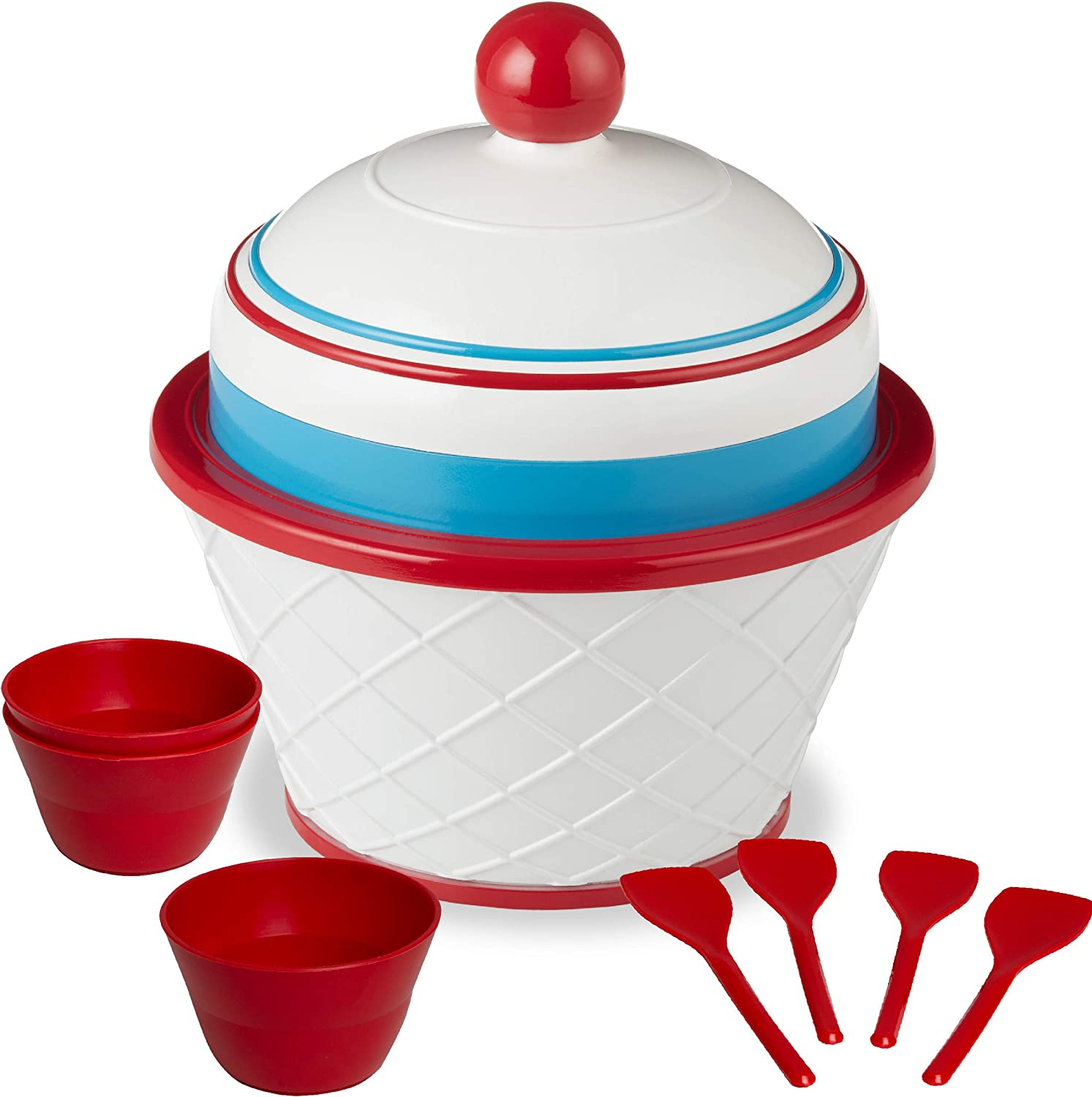 FAO Schwarz Motorized DIY Ice Cream Station with Double-Insulated Freezer Bowel and Electric Mixer, Includes Serving Bowls and Spoons, Make Your Favorite Frozen Sweet Treats, Fun Family Activity Set