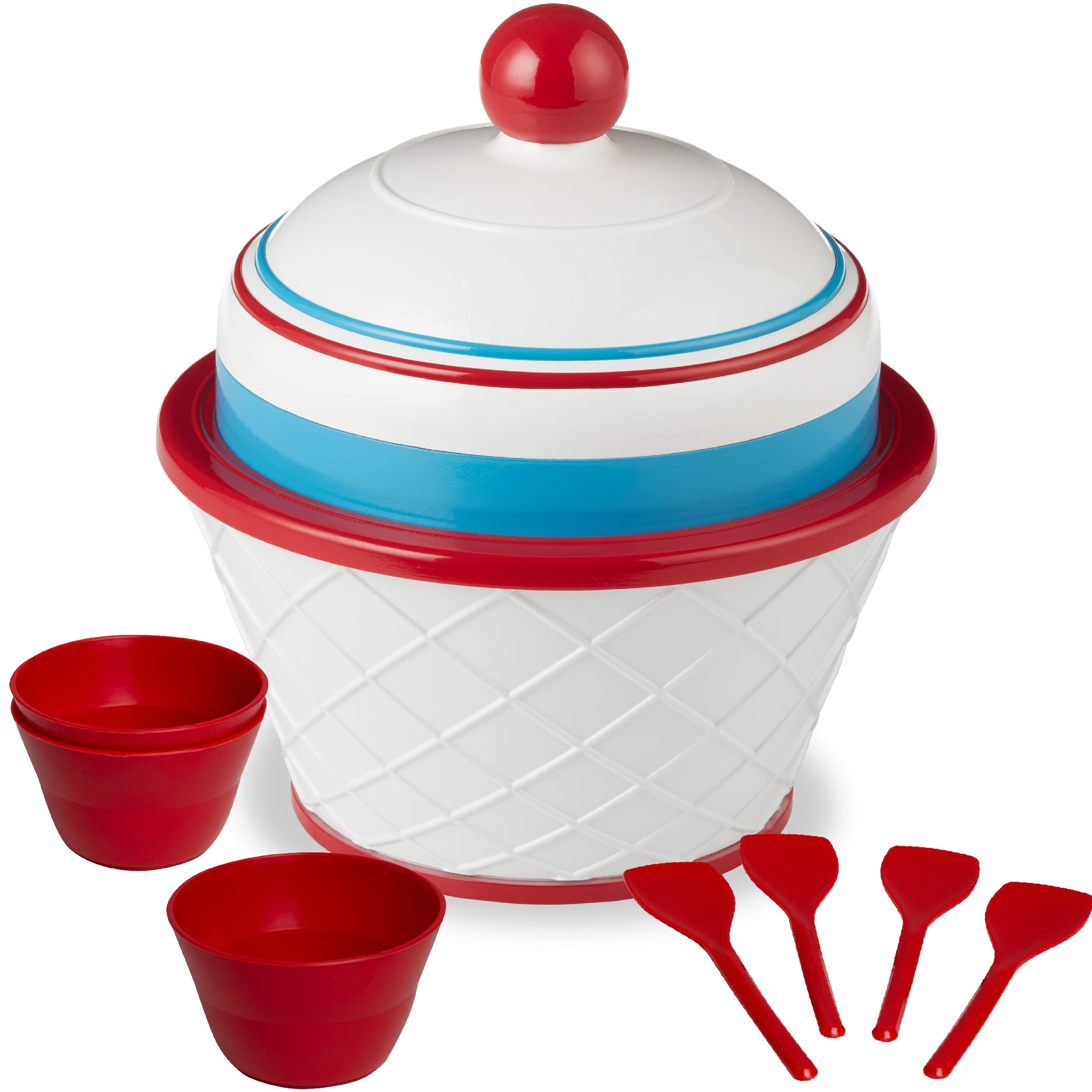 FAO Schwarz Motorized DIY Ice Cream Station with Double-Insulated Freezer Bowel and Electric Mixer, Includes Serving Bowls and Spoons, Make Your Favorite Frozen Sweet Treats, Fun Family Activity Set by FAO Schwarz