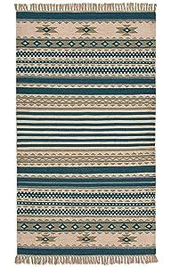 Second Nature Kovalam géométrique rayé Laine Kilim Tapis Bleu Gris Blanc (Commerce équitable) 75cm x 135cm