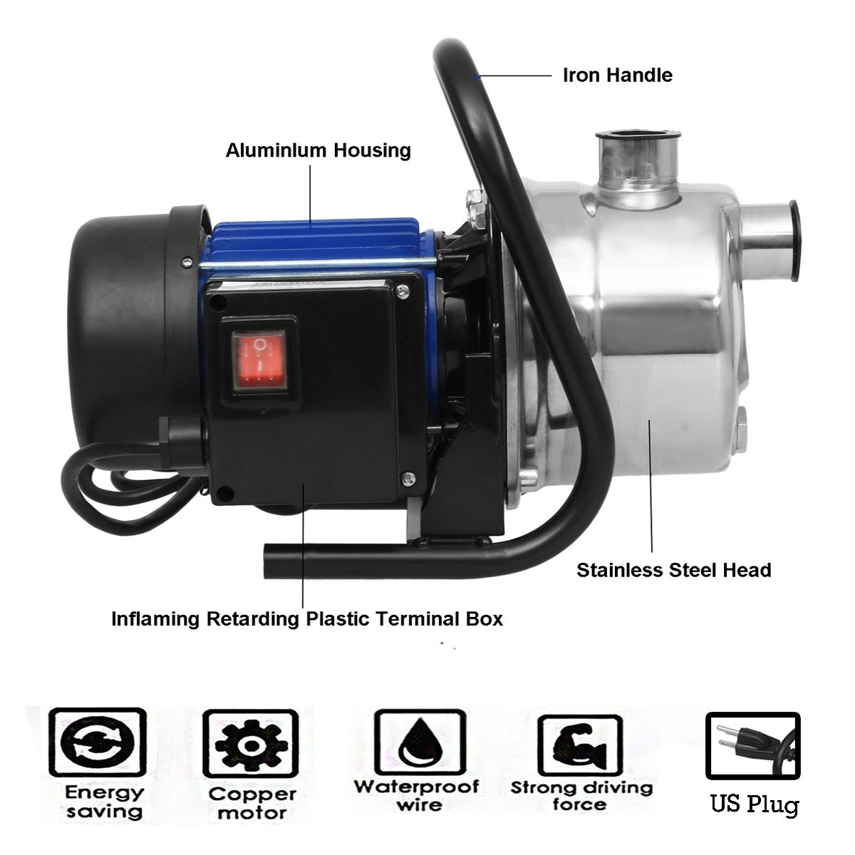 Jaketen 1.6HP Automatic ON/OFF Stainless Shallow Well Pump, 115V Sprinkler Booster Pump or Home Garden Irrigation Water Supply (US STOCK)