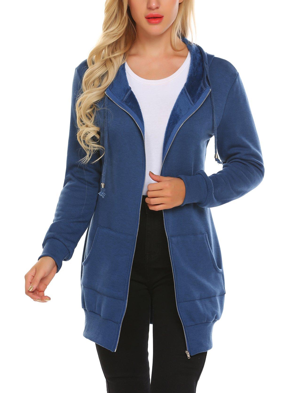 Zeagoo Women's Thin Cotton Zip Up Hoodie Jacket,Royal Blue,S