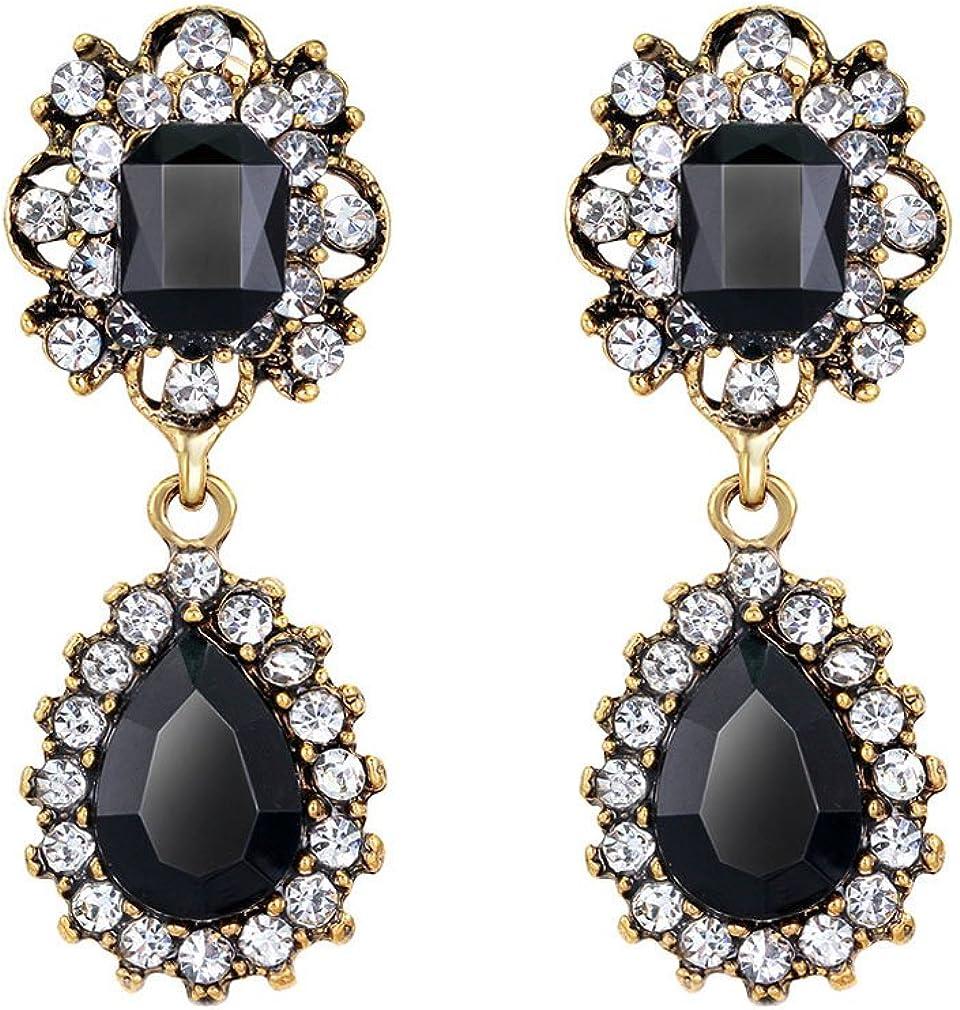 QiXuan Womens Drop aretes de moda aretes con cristal de lágrima colgando y chapado en oro de diamantes de imitación