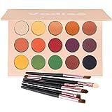Matte and Shimmer Eyeshadow Palette, Vodisa Smoky Warm Color Eye Shadows Glitter Makeup Kit Make Up Brushes Set Nature Nude E