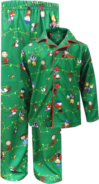 Peanuts Gang Charlie Brown Coat Pajama Set Toddler Boys/' Gray Flannel Christmas