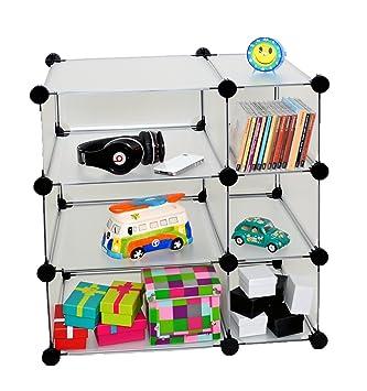 Ts Ideen Büro Flur Kinder Regal Schrank Steckregal CD Und  Schallplattenregal In Weiß Transparent