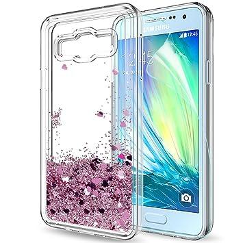 LeYi Compatible con Funda Samsung Galaxy A3 2015 Silicona Purpurina Carcasa con HD Protectores de Pantalla,Transparente Cristal Bumper Telefono Gel ...