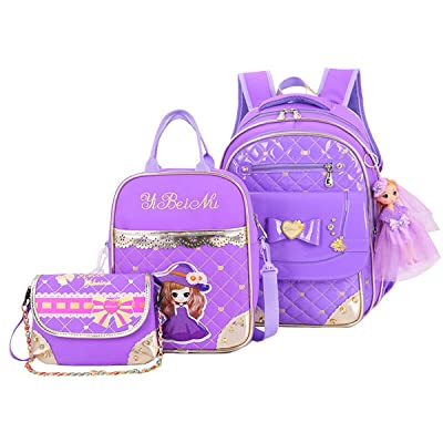 Moonwind Bow Girls Backpack for School Kids Book Bag and Lunch Bag Crossbody Set