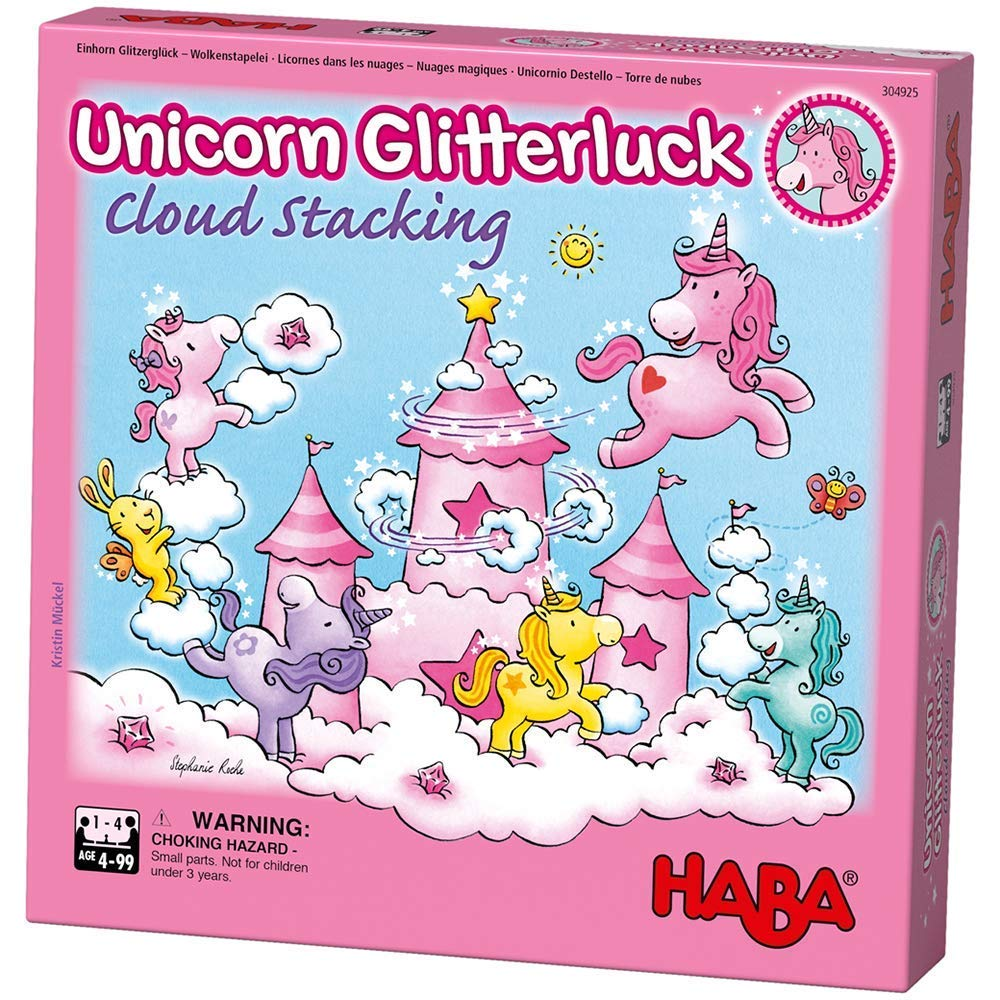 HABA Unicorn Glitterluck Cloud Stacking - A Cooperative Roll & Move Dexterity Game for Ages 4 and Up (Made in Germany) by HABA