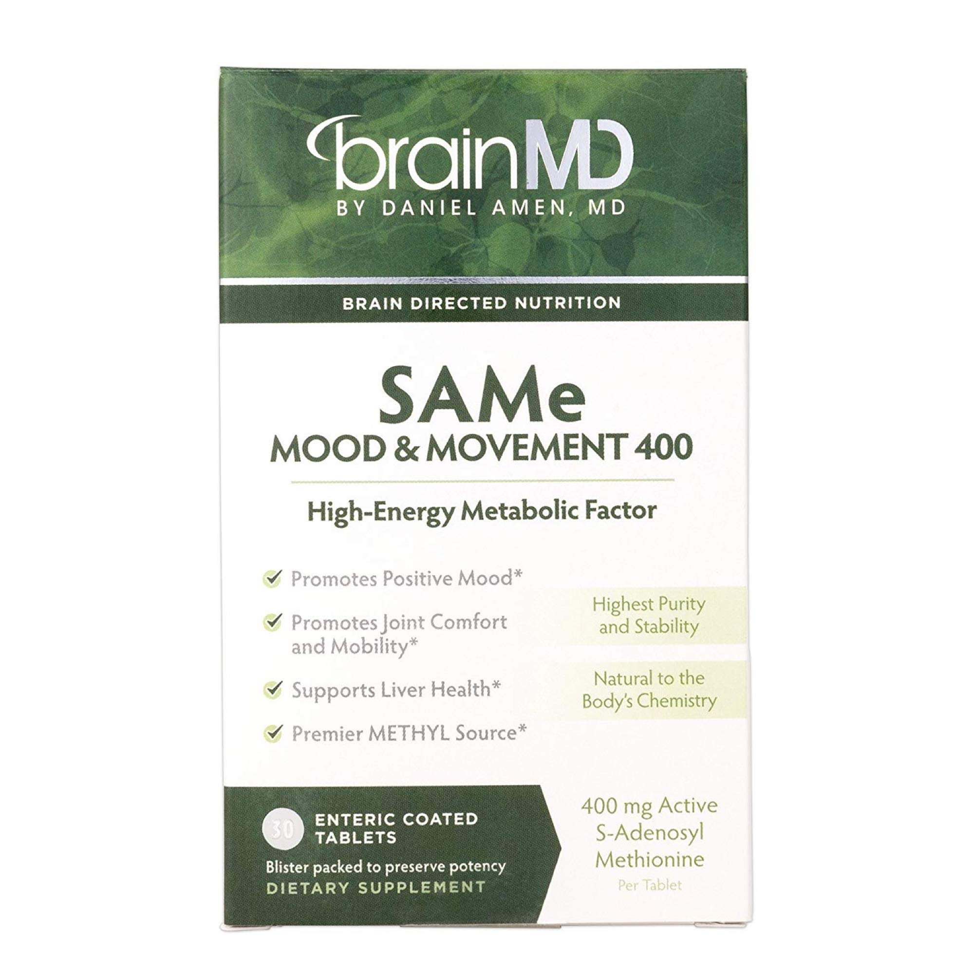 Dr. Amen brainMD Same Mood & Movement - 400 mg, 30 Tablets - Promotes Emotional Balance & Liver Health, Joint Support Supplement, Energy Booster - Gluten-Free - 30 Servings