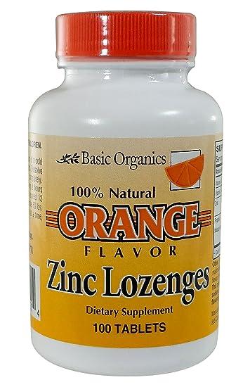 Amazon Com Basic Organics Natural Flavor Zinc Lozenges Orange 100