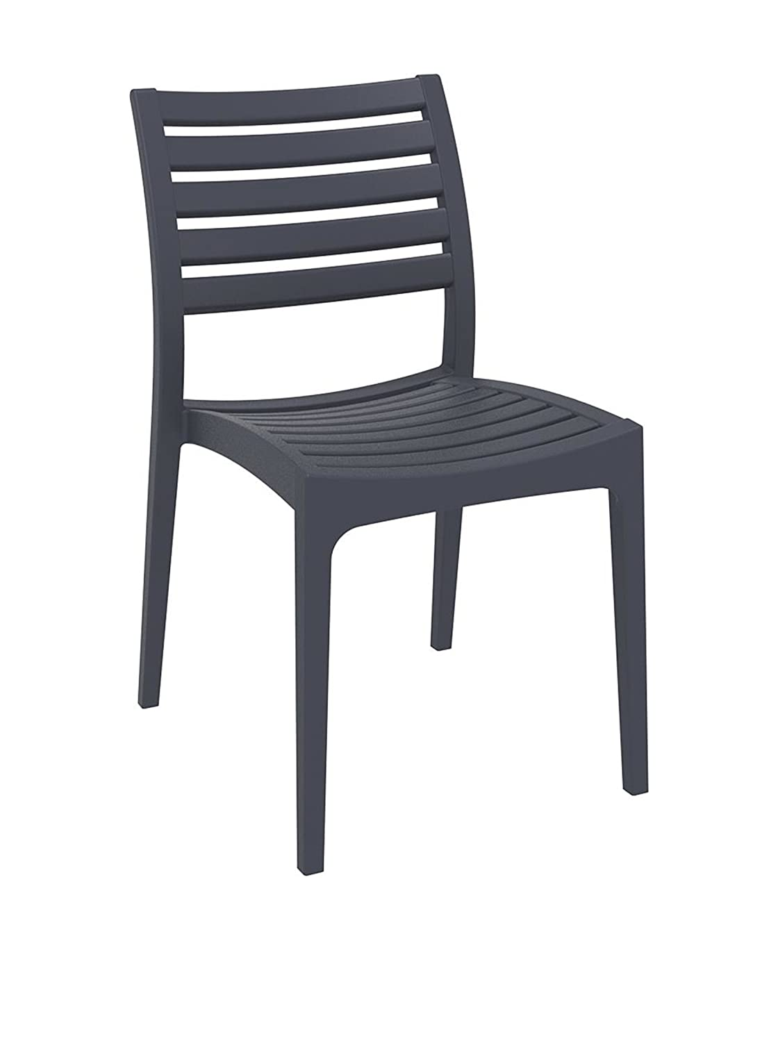 Amazon com ares resin outdoor dining chair 2 chairs dark gray garden outdoor