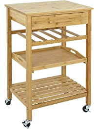SUPER DEAL Bamboo Rolling Storage Cart Kitchen.