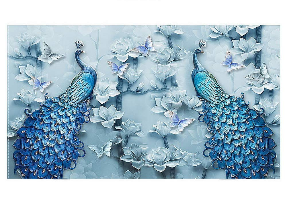 Gentle Meow Home Creative 50-Inch TV Cloth Decorative Dustproof Cover, Blue Peacocks