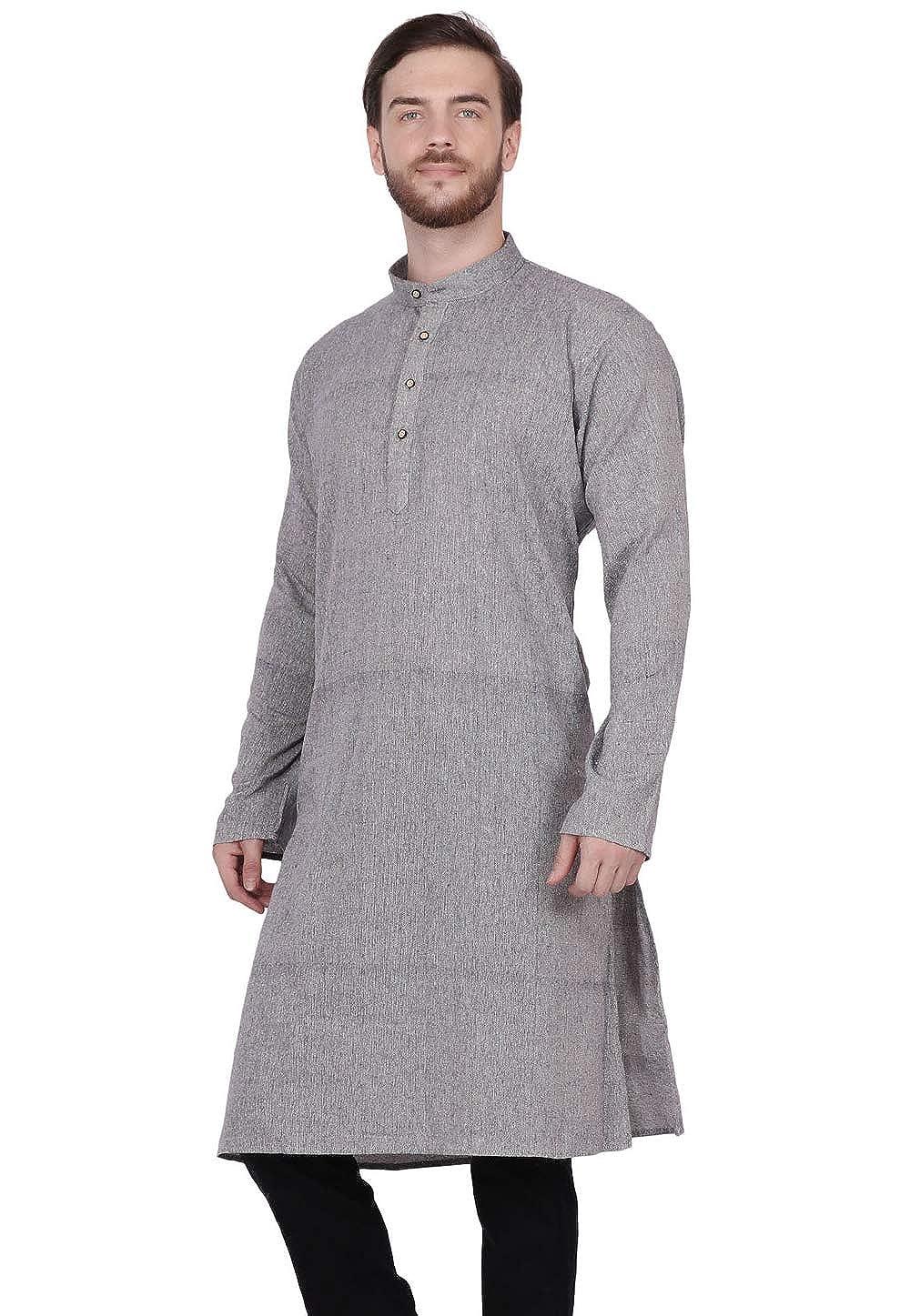 SKAVIJ Mens Indian Khadi Cotton Kurta Shirt Ethnic Cloth