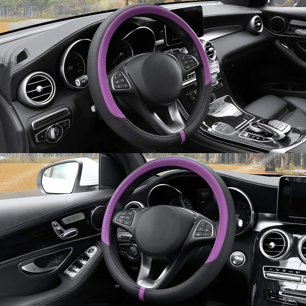 Comfortable Grip COFIT Black Microfiber Leather Steering Wheel Cover Universal 15 Inch