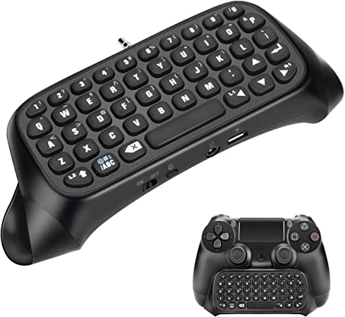 Teclado PS4 Powcan Mini Chatpad inalámbrico Controlador de Juego de Mensajes Teclado con Auriculares Conector de Audio para Sony Playstation 4, PS4 ...
