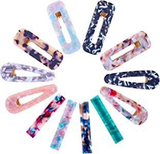 Hair Barrettes for Women, Anezus 12 Pcs Acrylic Resin Hair Clips Fashion Large Hair Clips Barrettes for Women Hair Accessories