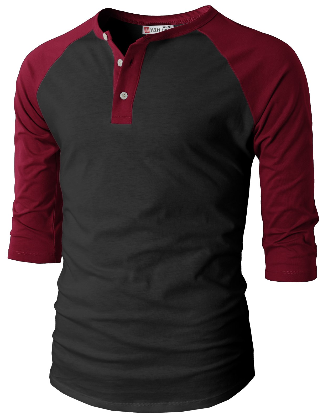 H2H Men Fashion Slim Fit Raglan Baseball 3/4 Sleeve Henley Premium T-Shirts BLACKWINE US L/Asia XL (CMTTS0174)