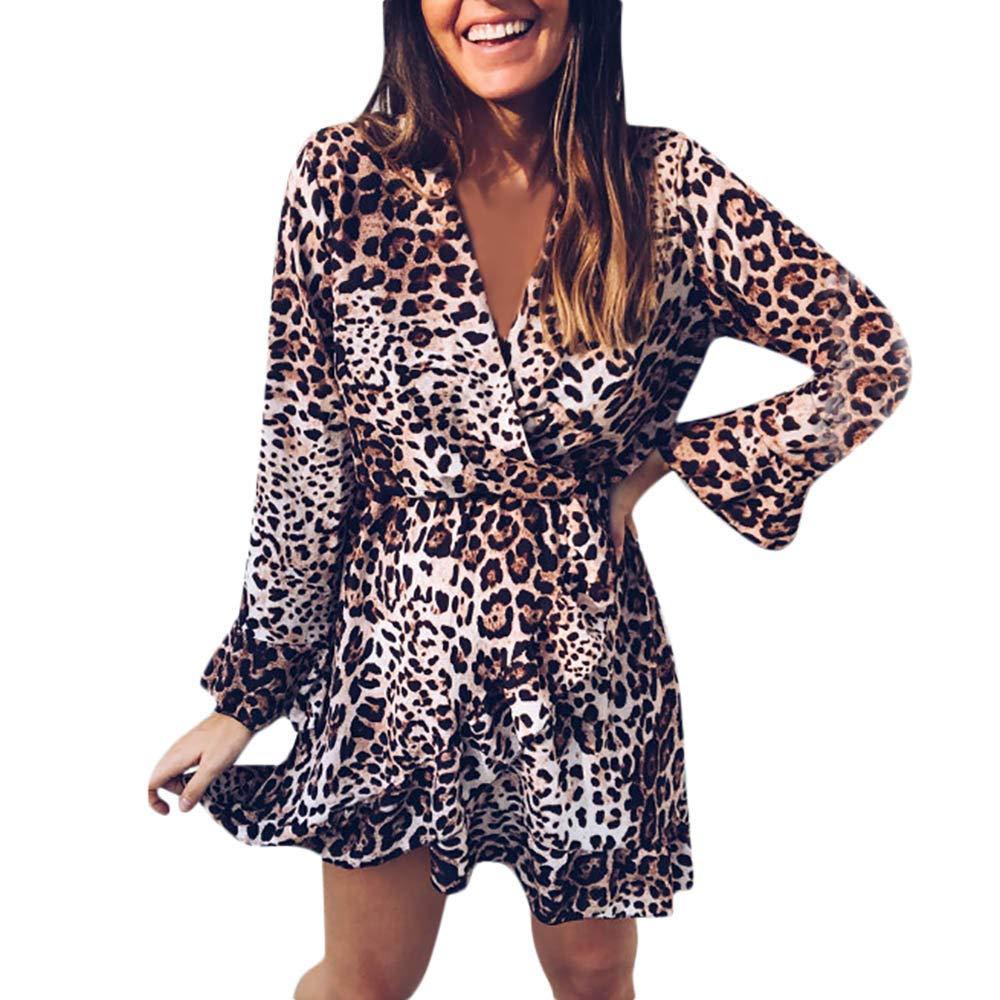 SHOBDW Damen Herbst Winter Mode Sexy V-Ausschnitt Leopard Drucken Rüschen Saum Langarm Bündel Taille Party Wrap Maxi Kleid Minikleid Abendkleid Frauen Elegant Trendigen Dünn Wild Lang Shirts Bluse