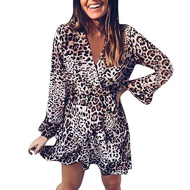 8c74629eee1e LUBITY Robe Femme Sexy Col V Chic Imprimé Léopard Volants Ourlet Automne  Hiver Manches Longues Parti