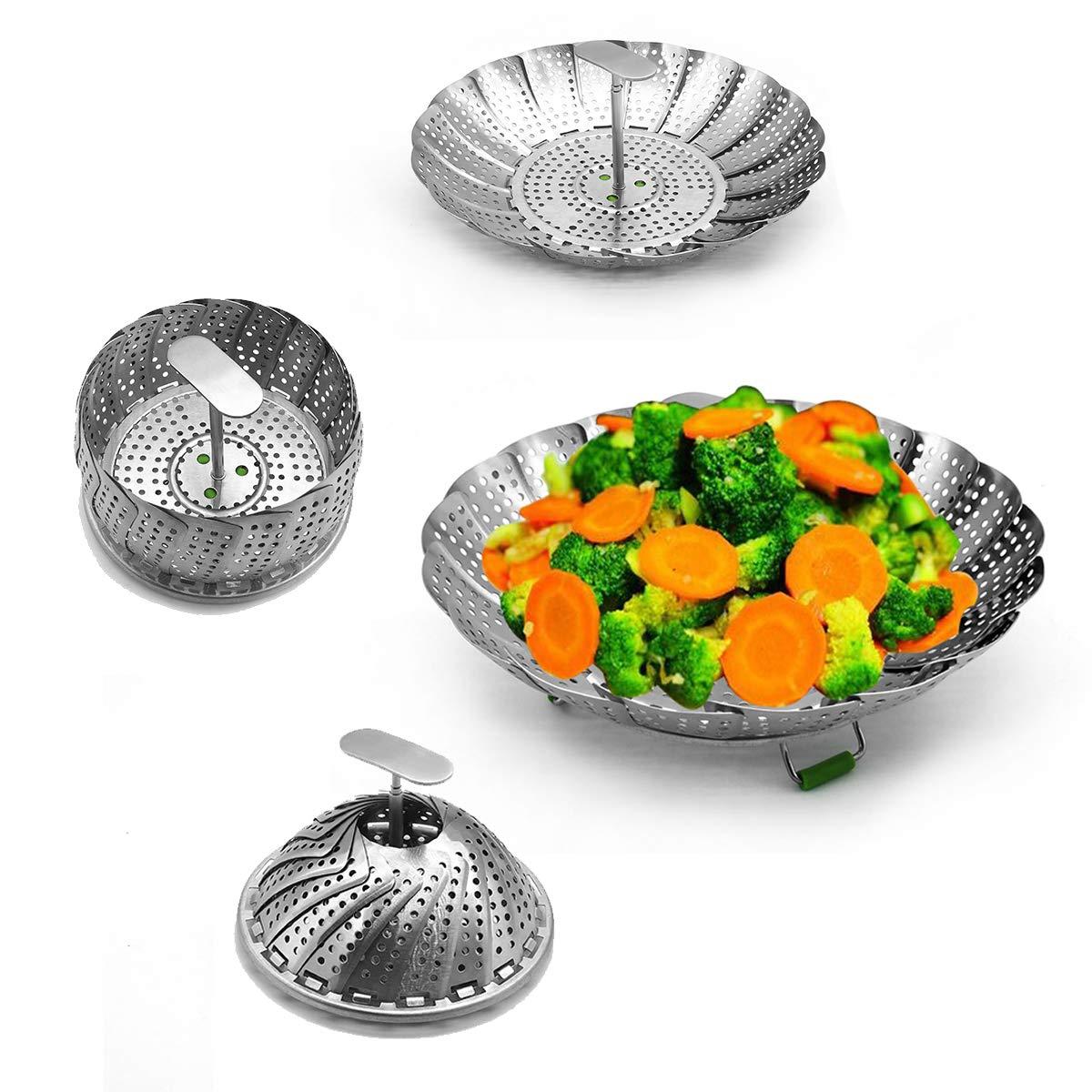 Vegetable Steamer Basket,Steam Basket for Instant Pot/Pressure Cooker,100% Stainless Steel,Best Bundle,Instant Pot Accessories, Folding Steamer Fit Various Size