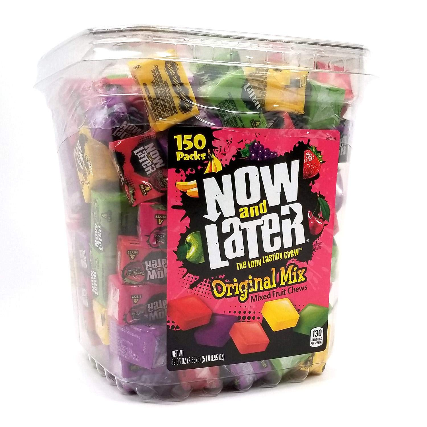 Now & Later Original Taffy Chews Candy, Assorted, 150 Count Chews, 90 Ounce Jar