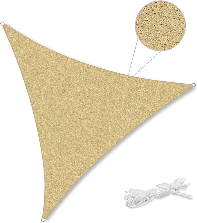 Sekey Toldo Vela de Sombra Triángulo HDPE Protección Rayos UV Resistente Permeable Transpirable para Patio, Exteriores, Jardín, 3× 3× 3m Arena, con Cuerda Libre: Amazon.es: Jardín