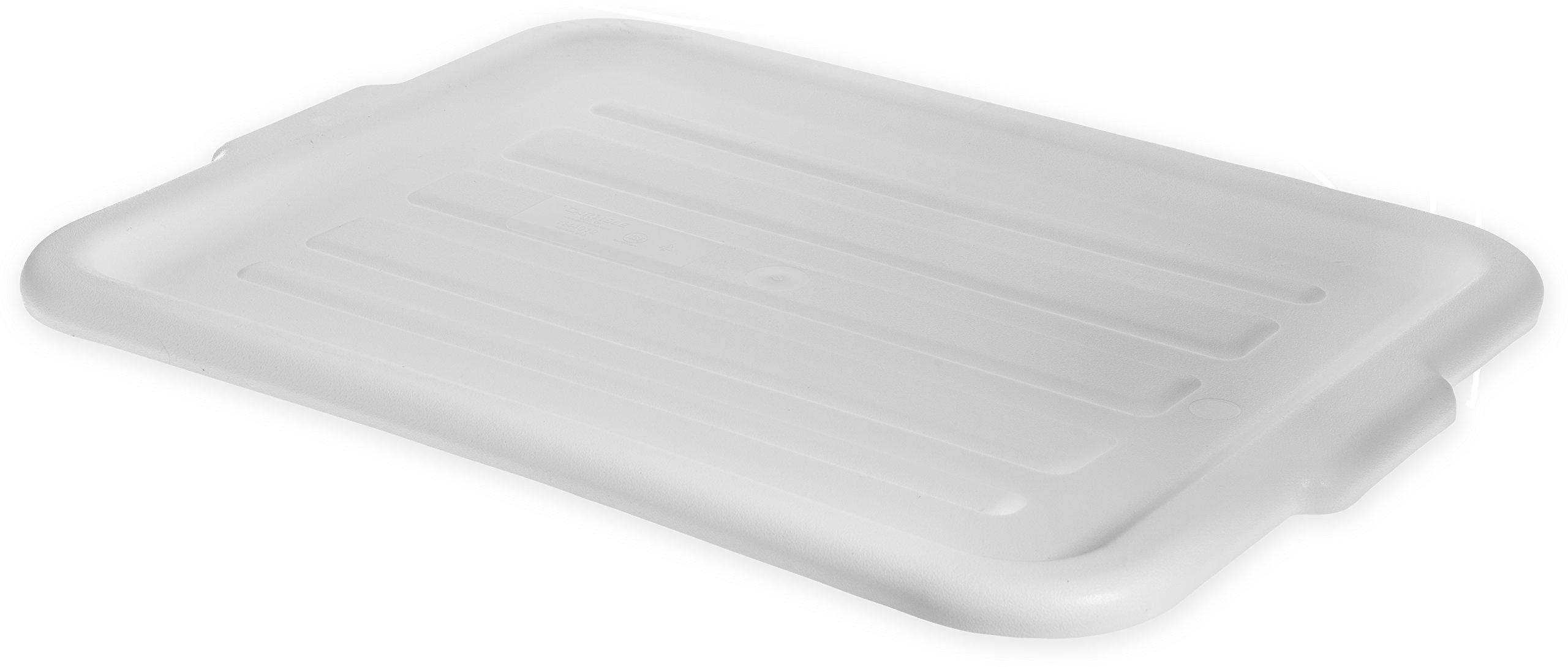 Carlisle N4401202 Comfort Curve Ergonomic Wash Basin Tote Box Lid, Universal, White (Pack of 12)
